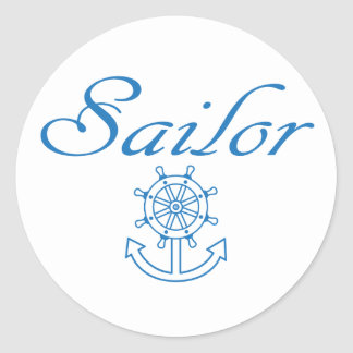 Nautical ship wheel and anchor round sticker
