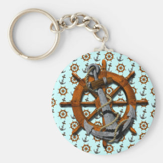 Nautical Ships Wheel And Anchor Basic Round Button Key Ring