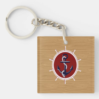 Nautical Ships Wheels Anchor on Wood Grain Double-Sided Square Acrylic Key Ring