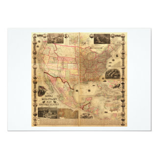 Naval and Military Map of the United States (1862) 13 Cm X 18 Cm Invitation Card