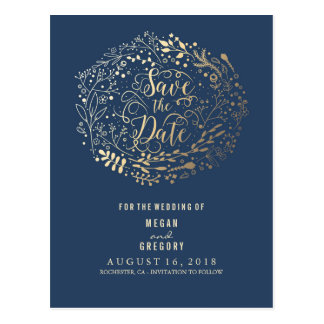 navy and gold floral bouquet wreath save the date postcard