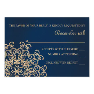 NAVY AND GOLD INDIAN STYLE WEDDING RESPONSE CARD 9 CM X 13 CM INVITATION CARD