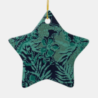 Navy and Turquoise Batik Pattern Ceramic Star Decoration