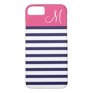 Navy Blue and Pink Preppy Stripes Custom Monogram iPhone 7 Case
