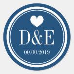 Navy blue and white monogram wedding favour round sticker