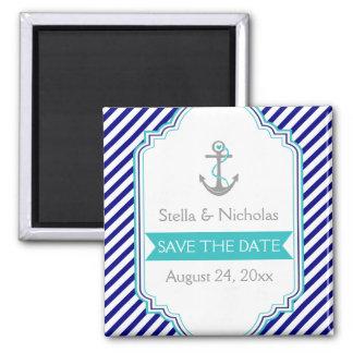 Navy blue, aqua nautical wedding Save the Date Square Magnet