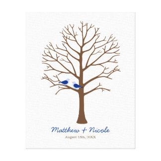 Navy Blue Brown Birds Fingerprint Tree Wedding Canvas Print