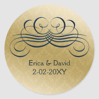 """""""navy blue"""" envelope seal round sticker"""