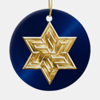 Navy Blue Gold Star of David Hanukkah Ornament