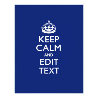 Navy Blue Keep Calm And Edit Text Personalized 21.5 Cm X 28 Cm Flyer