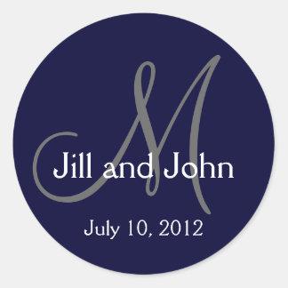 Navy Blue Monogram Wedding Bride Groom Date Seal Round Sticker