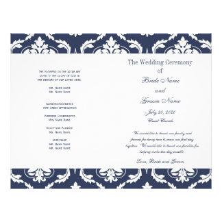 Navy Blue White Vintage Damask Wedding Program 21.5 Cm X 28 Cm Flyer