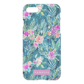 Navy Tropical Paradise Floral CUSTOMIZABLE iPhone 7 Case