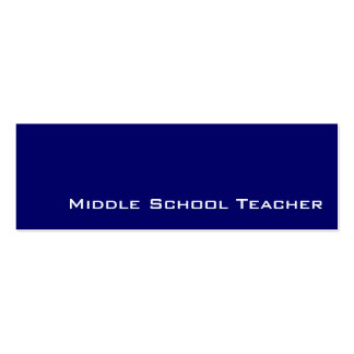 Navy white middle school teacher business cards