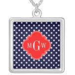Navy White Polka Dot Red Quatrefoil 3 Monogram Square Pendant Necklace