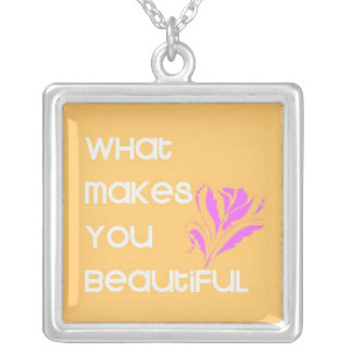 <Necklace> What Makes You Beautiful Square Pendant Necklace