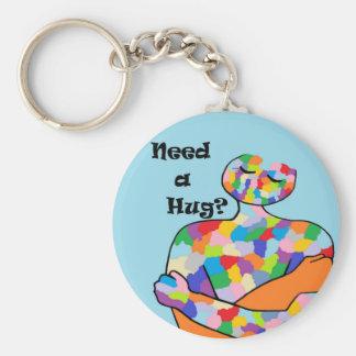 Need a Hug? Basic Round Button Key Ring