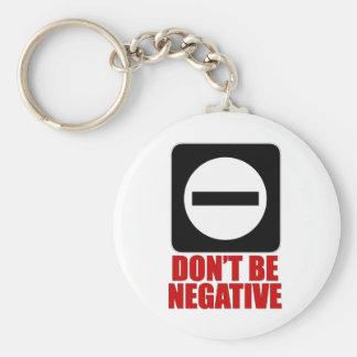 Negative 2 Red Basic Round Button Key Ring