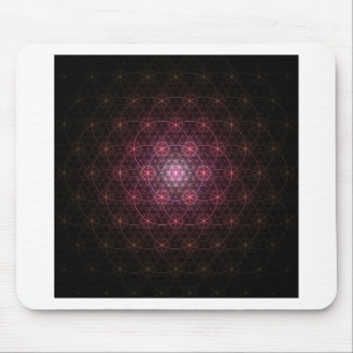 Neon Black Flower of Life Mouse Pad