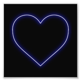 Neon Blue Valentines Heart Photograph