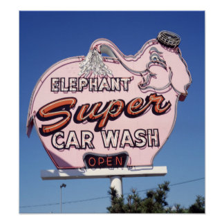 Neon Elephant Car Wash Sign Poster