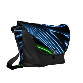 Neon green blue lines commuter bag