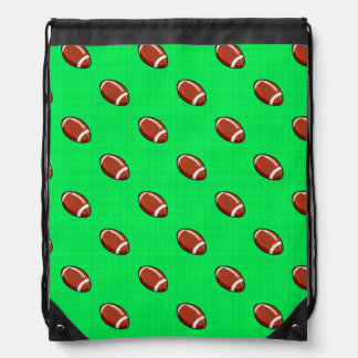 Neon Green Football Pattern Drawstring Bag