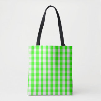 Neon Green Gingham Pattern Tote Bag