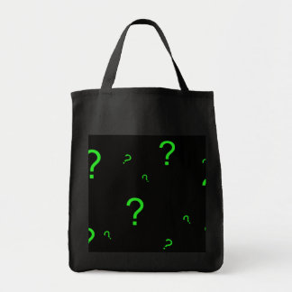 Neon Green Question Mark Grocery Tote Bag