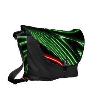 Neon green red lines messenger bag