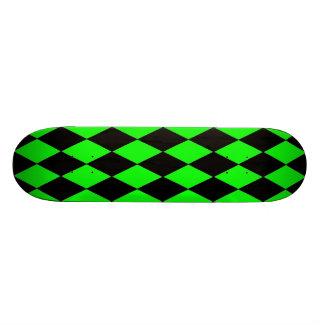 Neon Lime Green and Black Diamond Harlequin Patter Skateboard
