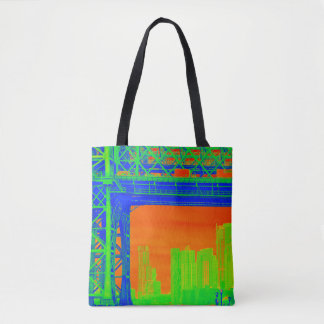 Neon New York Electric Green, Orange and Blue Tote Tote Bag