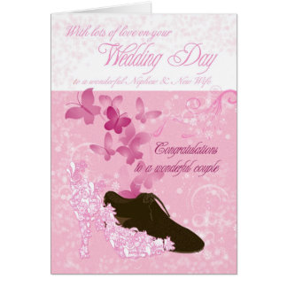 Nephew and new wife wedding day congratulations greeting card
