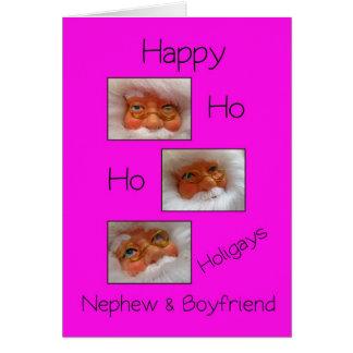 nephew & boyfriend happy ho ho holigays gay x-mas greeting card