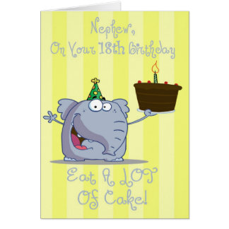 Nephew Eat More Cake 18th Birthday Card