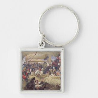 Neptune on Board the 'Newcastle' Crossing the Silver-Colored Square Key Ring
