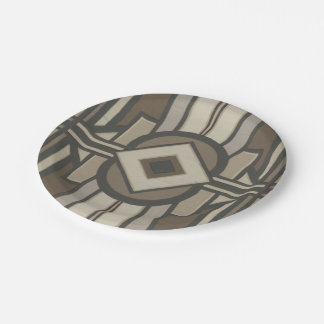 Neutral Deco Panel II 7 Inch Paper Plate