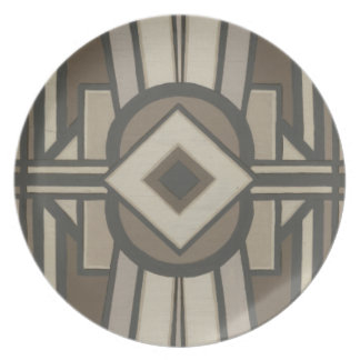 Neutral Deco Panel II Dinner Plate