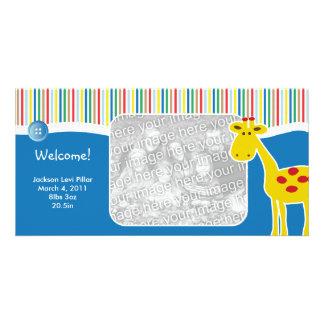 Neutral Giraffe Birth Announcement Photo Card