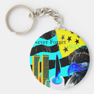 Never Forget 9-11-01 Negative Basic Round Button Key Ring