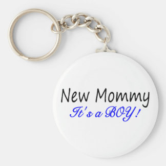 New Mommy Its A Boy Basic Round Button Key Ring