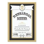 New Orleans Wedding Rehearsal Dinner Black Gold 13 Cm X 18 Cm Invitation Card