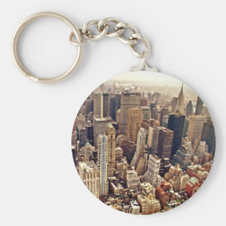 New York City From Above Basic Round Button Key Ring