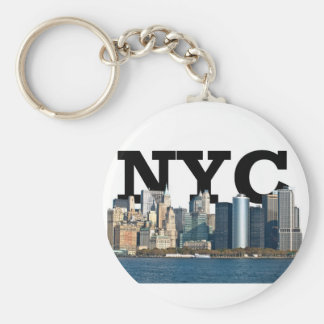 "New York skyline with ""NYC"" in the sky above. Basic Round Button Key Ring"