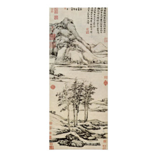 Ni Zan - trees in a river valley in Yu-shan Poster