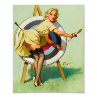 Nice Archery Shot - Retro Pin Up Girl Photo Print