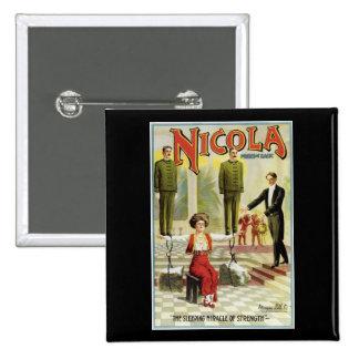 Nicola Prince of Magic ~ Vintage Magician Act 15 Cm Square Badge