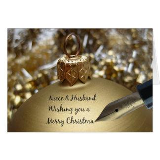 Niece & Husband wishing you merry christmas pen on Greeting Card