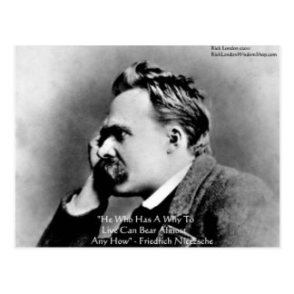 """Nietzsche """"A Why"""" Wisdom Quote Gifts & Cards Postcard"""