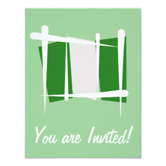 Nigeria Brush Flag 11 Cm X 14 Cm Invitation Card